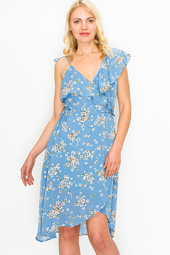 $12.00 - Cute cheap blue vintage washed denim mid rise distressed floral embroidered fitted straight leg jeans - Dusty blue floral print sleeveless ruffled boho mini wrap dress