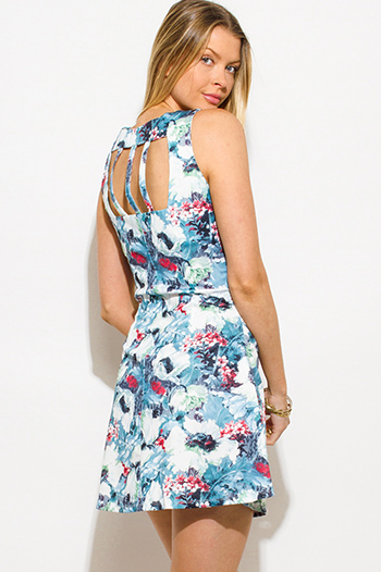 $10 - Cute cheap open back wrap dress - dusty blue floral print sleeveless scuba cut out back fitted mini dress