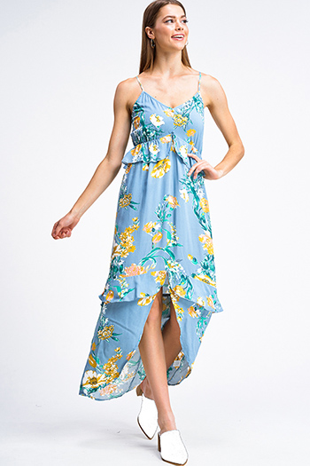 $20 - Cute cheap blue pocketed boho jumpsuit - Dusty blue floral print sleeveless v neck ruffle tiered front slit boho maxi sun dress