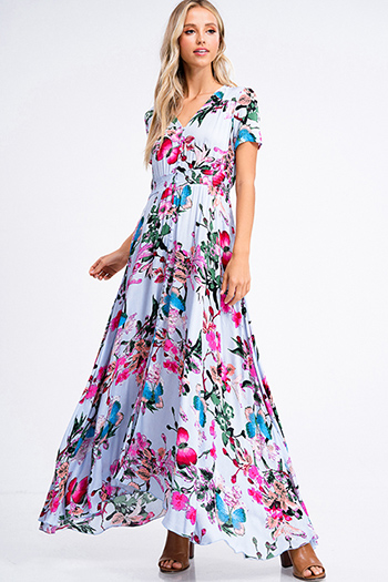 $20 - Cute cheap light pink satin floral off shoulder ruffle tiered boho mini sun dress - Dusty blue floral print v neck short sleeve button up boho maxi sun dress