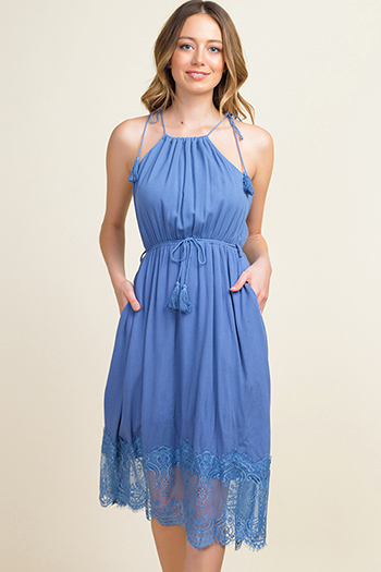 $20 - Cute cheap ruched fitted dress - Dusty blue halter tie waist lace hem pocketed boho sexy party midi dress