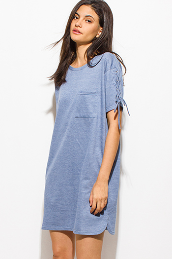 $15 - Cute cheap high neck bodycon dress - dusty blue laceup short sleeve tee shirt pocketed mini dress
