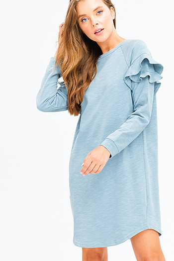 $15 - Cute cheap satin bejeweled evening dress - dusty blue ruffle trim long sleeve crew neck boho midi dress