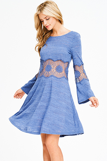 $15 - Cute cheap pink skater cocktail dress - dusty blue sheer crochet long bell sleeve a line skater boho midi dress