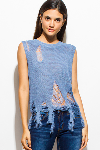 $15 - Cute cheap royal blue sexy party top - dusty blue sleeveless destroyed shredded fringe hem sweater knit tank top
