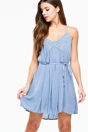$10 - Cute cheap blue chambray dress - Dusty blue sleeveless embellished beaded tie waist cross back boho sexy party mini dress