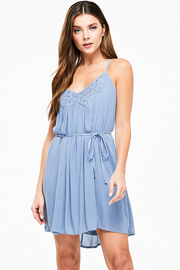 $15 - Cute cheap blue shift mini dress - Dusty blue sleeveless embellished beaded tie waist cross back boho sexy party mini dress