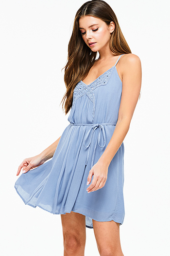 $10 - Cute cheap wrap sexy party sun dress - Dusty blue sleeveless embellished beaded tie waist cross back boho party mini dress