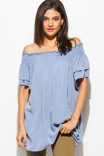 $15 - Cute cheap chambray top - dusty blue smocked off shoulder tiered short sleeve keyhole tie back boho sexy party top