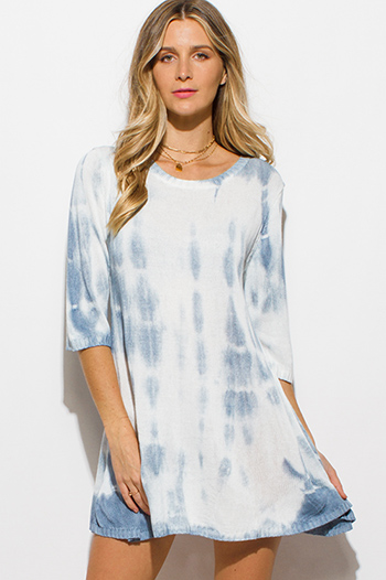 $15 - Cute cheap blue dress - dusty blue tie dye knit quarter sleeve a line shift boho mini dress