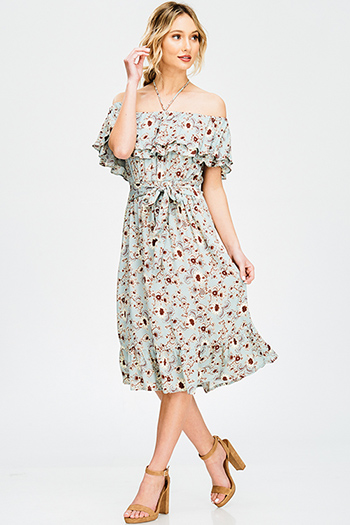 $15 - Cute cheap one shoulder boho top - dusty blue vintage floral print ruffle tiered off shoulder halter boho sexy party midi sun dress