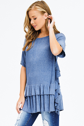 $15 - Cute cheap blue washed denim mid rise distressed frayed ripped skinny fit jeans - dusty blue washed ribbed knit ruffle trim short sleeve tunic top boho mini dress