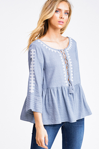$15 - Cute cheap blue chambray blouse - Dusty blue wide quarter sleeve embroidered laceup boho peplum peasant blouse top