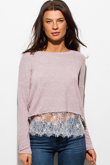 $15 - Cute cheap white v neck crop top - dusty blush pink boat neck long sleeve scallop lace hem boho top