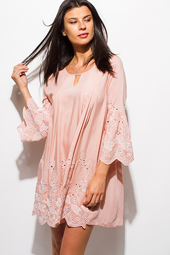 $15 - Cute cheap boho - dusty blush pink embroidered long sleeve scallop hem boho shift mini swing dress