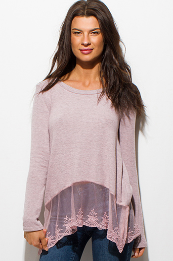 $15 - Cute cheap pink sexy club crop top - dusty blush pink long sleeve crochet lace hem boho top