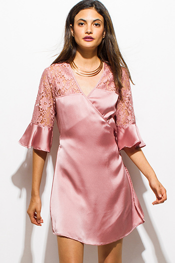 $15 - Cute cheap wrap sexy club midi dress - dusty blush pink satin sheer lace half bell sleeve cocktail party wrap mini dress