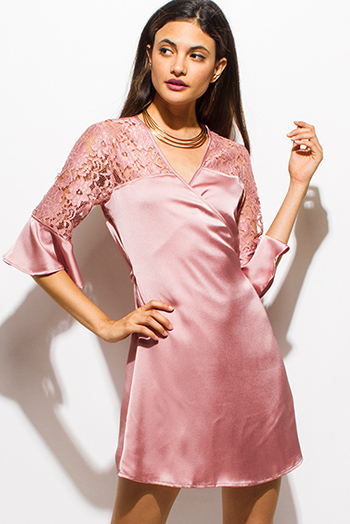 $10 - Cute cheap boho belted mini dress - dusty blush pink satin sheer lace half bell sleeve cocktail sexy party wrap mini dress