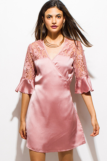 $15 - Cute cheap draped sexy club dress - dusty blush pink satin sheer lace half bell sleeve cocktail party wrap mini dress