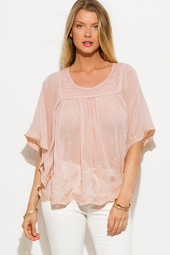 $15 - Cute cheap peach pink draped low cowl neck quarter sleeve knit tunic top - dusty blush pink sheer chiffon embroidered butterfly sleeve boho blouse top
