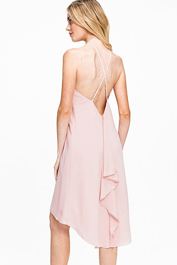 $12 - Cute cheap ruched fitted dress - Dusty blush pink chiffon sleeveless halter high low hem ruffled criss cross back boho sexy party midi dress