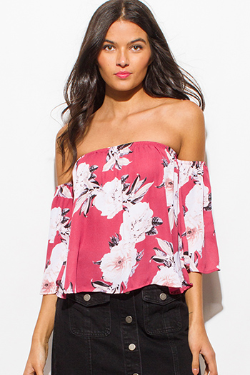 $10 - Cute cheap floral chiffon top - dusty maroon pink chiffon floral print off shoulder boho sexy party top