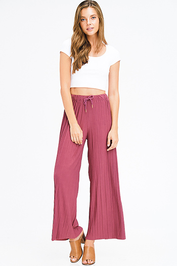 $15 - Cute cheap olive green ribbed knit button embellished evening wide leg capri pants - dusty maroon pink pleated drawstring high waisted wide leg boho culotte pants