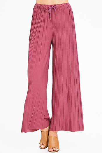 $10 - Cute cheap pink chiffon boho top - dusty maroon pink pleated drawstring high waisted wide leg boho culotte pants