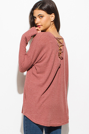 $15 - Cute cheap red pinstripe rose patch ruffle tiered strapless boho tunic top - dusty maroon red long sleeve boat neck laceup back thermal knit boho top