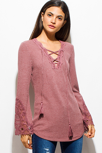 $15 - Cute cheap dusty pink floral print cold shoulder caged back boho blouse top - dusty maroon red long sleeve crochet laceup tassel front thermal knit boho top