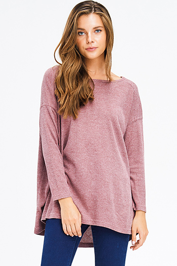 $15 - Cute cheap gray boho tee - dusty maroon red thermal knit v neck long sleeve boho top