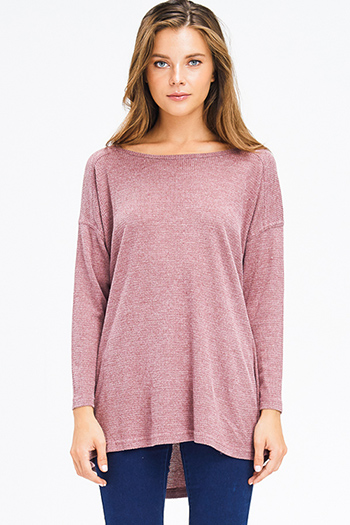 $15 - Cute cheap dusty pink cotton ruffle tiered quarter bell sleeve boho blouse top - dusty maroon red thermal knit v neck long sleeve boho top