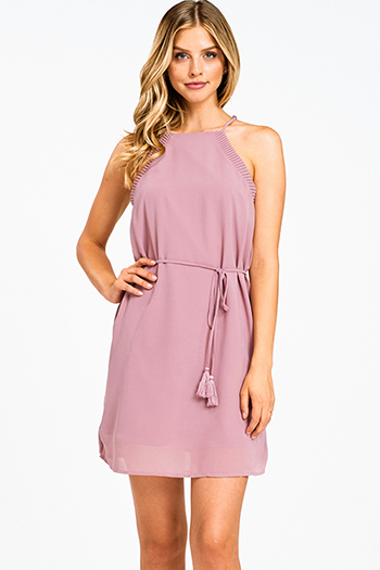 $20 - Cute cheap light pink satin floral off shoulder ruffle tiered boho mini sun dress - Dusty mauve chiffon halter pleated trim tassel tie waist cocktail sexy party shift mini dress