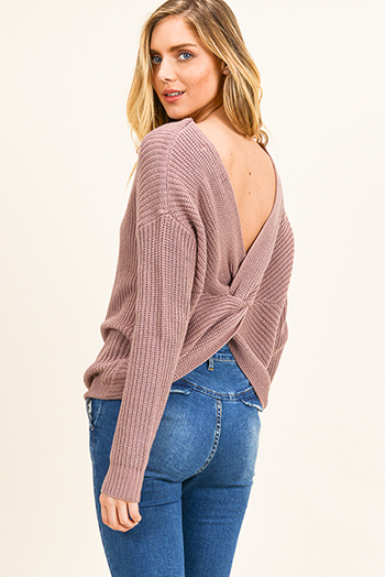$25 - Cute cheap white denim long sleeve button up lined pocketed jean jacket - Dusty mauve knit long sleeve v neck twist knotted back boho sweater top
