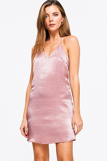 $10 - Cute cheap boho belted mini dress - Dusty mauve pink crinkle satin v neck sleeveless halter backless sexy club cami dress