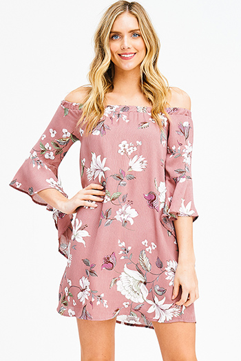 $15 - Cute cheap ribbed fitted bodycon dress - dusty mauve pink floral print off shoulder waterfall trumpet bell sleeve boho mini dress