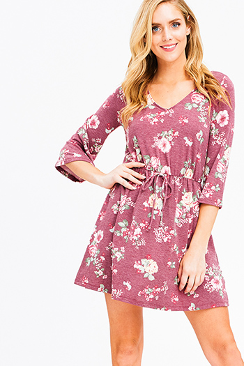 $12 - Cute cheap blue chambray sun dress - dusty mauve pink floral print v neck quarter bell sleeve a line boho mini dress