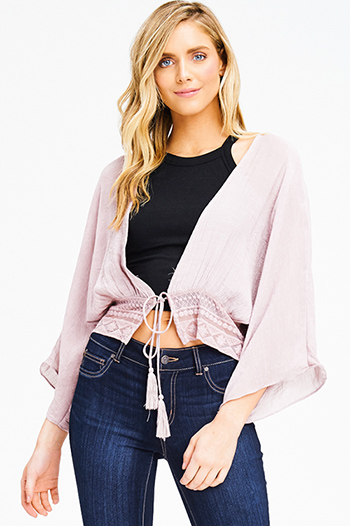 $15 - Cute cheap coral pink stripe sequined off shoulder pocketed long sleeve crochet sweater knit top - dusty mauve pink kimono sleeve open front embroidered boho beach cover up crop top
