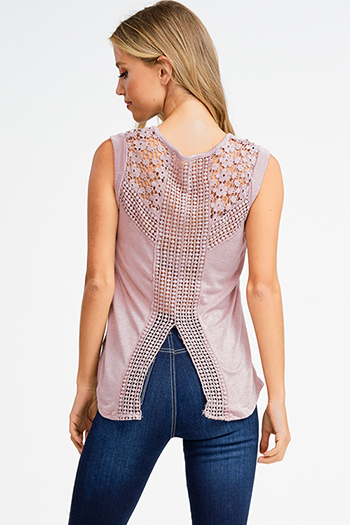 $13 - Cute cheap black ribbed knit surplice faux wrap long slit sleeve wrist tie boho top - Dusty mauve pink sleeveless crochet lace back slit boho tank top