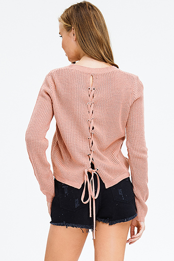 $15 - Cute cheap mustard green crochet lace half sleeve button up boho blouse top - dusty mauve pink waffle knit long sleeve laceup back boho sweater top