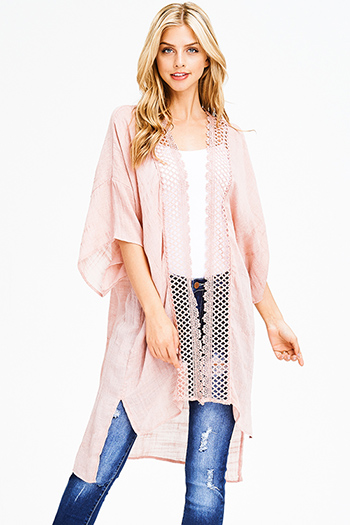 $15 - Cute cheap ivory white chiffon contrast laceup half dolman sleeve high low hem boho resort tunic blouse top - dusty mauve pink wide sleeve crochet lace trim boho duster kimono cardigan top