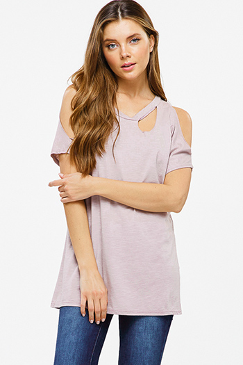 $15 - Cute cheap black pinstripe collarless short cuffed cap sleeve zip up blouse top - Dusty mauve purple cut out cold shoulder short sleeve tee shirt top