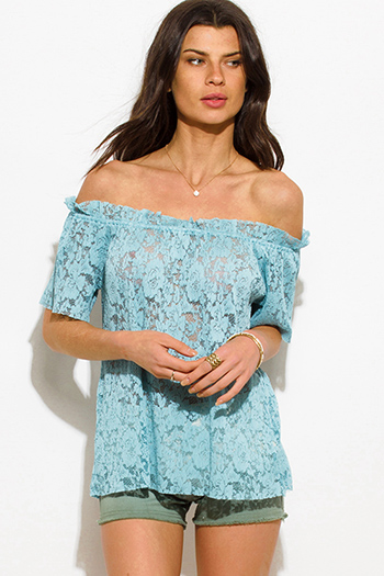 $15 - Cute cheap bright aqua blue rayon gauze off shoulder bell sleeve tassel fringe boho blouse top - dusty mint blue sheer see through lace off shoulder boho blouse top