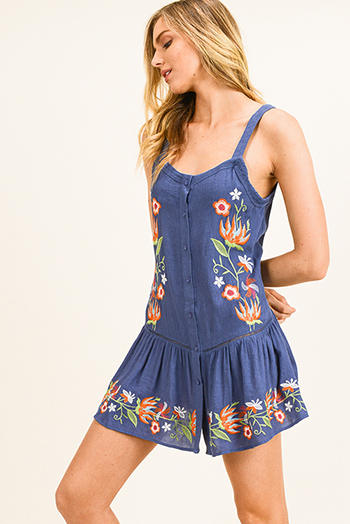$15 - Cute cheap print ruffle boho romper - Dusty navy blue embroidered sleeveless button up tiered ruffle hem boho swing mini sun dress