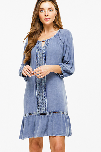 $13 - Cute cheap blue washed denim cuffed short sleeve button up pocketed mini shirt dress - Dusty navy blue crochet lace quarter sleeve tie back ruffle hem boho peasant mini dress