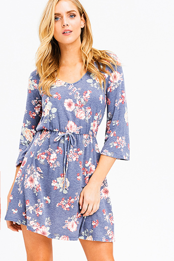 $15 - Cute cheap blue chambray ruffle dress - dusty navy blue floral print v neck quarter bell sleeve a line boho mini dress