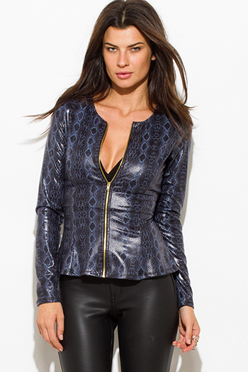 $9 - Cute cheap textured teal blue single button fitted blazer jacket top - dusty navy blue python snake animal print faux leather long sleeve zip up peplum jacket top