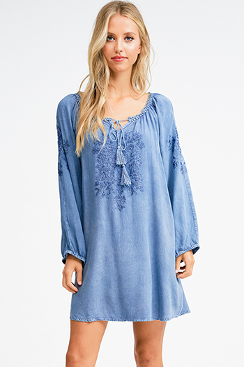 $20 - Cute cheap black fitted mini dress - Dusty navy blue rayon embroidered long sleeve boho beach cover up mini sun dress