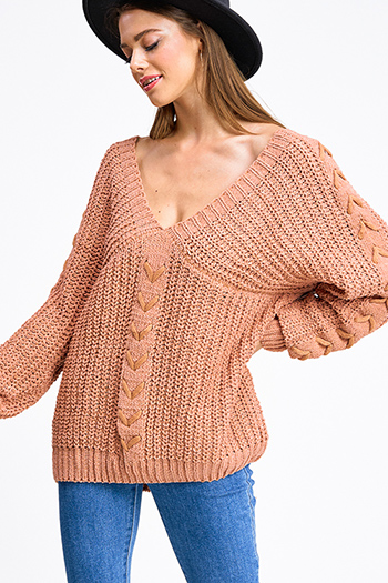 $30 - Cute cheap boho quarter sleeve dress - Dusty peach chenille knit v neck laceup detail long dolman sleeve open back boho sweater top