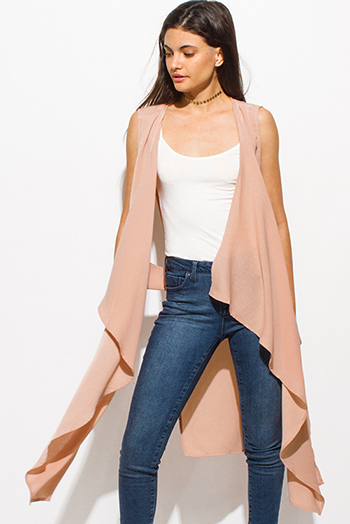 $15 - Cute cheap black semi sheer chiffon off shoulder ruffle criss cross back boho swing poncho top - dusty peach pink waterfall cut out open front boho duster cardigan vest top
